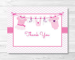 thank you baby shower baby clothes thank you card baby onesie baby clothesline