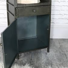 grey metal bedside table industrial style metal bedside cabinet melody maison