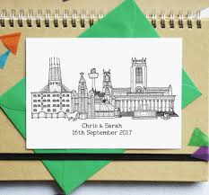 wedding invitations liverpool city skyline folded wedding invitations by becka griffin