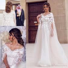 wedding dress a line dubai lace cape style wedding dresses 2017 bateau neck 3d flower