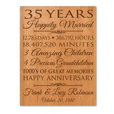 35 year anniversary personalized 35th anniversary gift for him 35 year wedding