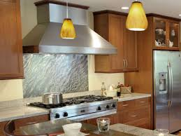 kitchen contemporary abstract stainless steel backsplash design