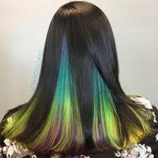 dark hair with grey streaks 33 cutest peekaboo highlights you ll ever see in 2018