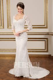 robe de mariée sirène dos nu manche trois quart en dentelle - Robe De Mari E Dentelle Sirene