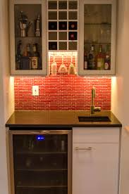 Hutch Bar And Kitchen Ikea Wet Bar Cabinets With Sink In Small Kitche Red Backsplash