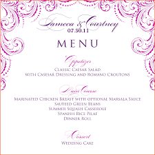 wedding menu templates 11 free wedding menu templates survey template words