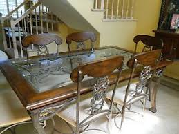 wrought iron dining table glass top kessler wrought iron glass top table with 4 cushioned chairs local