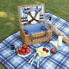 Wine Picnic Baskets Vonshef 4 Person Wicker Picnic Hamper With Flatware Plates And