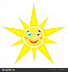 smiling sun with rays of different shapes stock vector