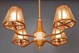 Wooden Chandelier Lighting Hand Made Wood Chandelier In Cherry Birds Eye Maple And Mica By