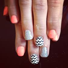 shellac nail art gelish chevron neon orange silver glitter cute