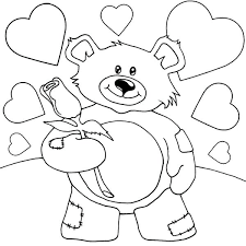 Coloring Pages Teddy Bears Valentine Teddy Bear Holding Rose Coloring Book Page
