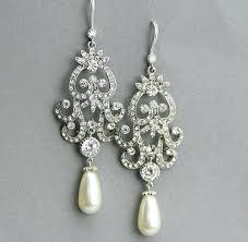 and pearl chandelier earrings pearl and rhinestone chandelier earrings white crochet pearl