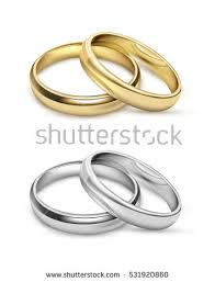 symbolic rings symbolic wedding objects gold silver metal stock vector 531920860