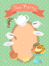 Invitation Card With Photo Colorful Flat Illustration Of A Tea Party Invitation Card With