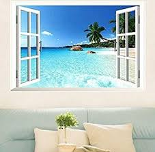 amazon com large removable beach sea 3d window decal wall sticker amazon com large removable beach sea 3d window decal wall sticker home decor exotic beach view art wallpaper mural kitchen dining