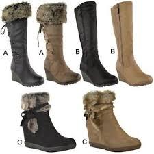 womens boots uk ebay womens wedge low heel winter knee boots warm faux fur