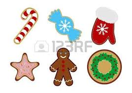 big set of cute christmas cookies isolated on white royalty free