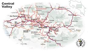 Map San Jose by Map Of San Jose And The Central Valley
