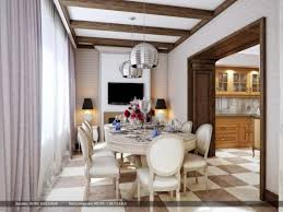 home design cream brown chequered floor dining room and long set
