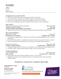 Resume Samples For Nurses by Resume Template For Nursing Assistant Free Resume Example And