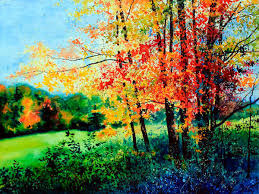 fall color landscape painting by hanne lore koehler