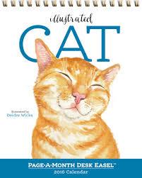 Small Easel Desk Calendar Illustrated Cat Page A Month Desk Easel Calendar 2016 Workman