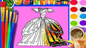 draw pretty dress barbie coloring kids