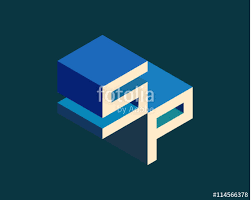 sp isometric 3d letter logo three dimensional stock vector