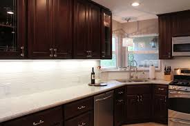Dark Kitchen Cabinets With Backsplash Granite Countertop B U0026q Cabinet Doors Clean Faucet Sink Standard
