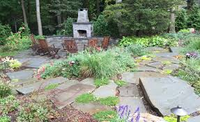 Dry Laid Bluestone Patio by Custom Outdoor Fireplace Builders Autumn Leaf Landscape Design