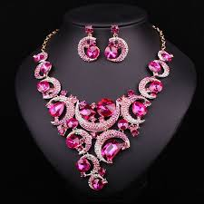 pink jewelry necklace images Online shop fashion pink crystal gold color necklace earrings jpg