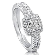Engagement Ring With Wedding Band by Sterling Silver Cushion Cubic Zirconia Cz Halo Engagement