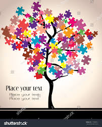 abstract beautiful tree design puzzles stock vector 111089951