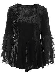 Halloween T Shirts Plus Size Halloween Plus Size Layered Sleeve Velvet Top Black Xl In Plus