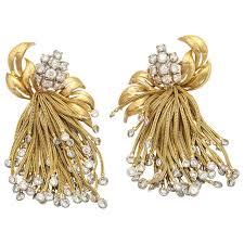 1960 s earrings 1960s diamond gold large cascade tassel fringe earrings vintage