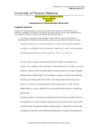 Matrix Worksheets Com100 R3 Introduction To Communication Worksheet Action