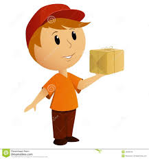 cartoon delivery boy with package royalty free stock images