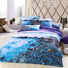 Beachy Comforters Sets 3d Blue Purple Sea Beach Bedding Sets Queen Size Cotton Bed Sheet