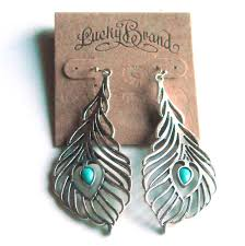 peacock feather earrings s lucky brand peacock feather openwork silver color dangle earrings