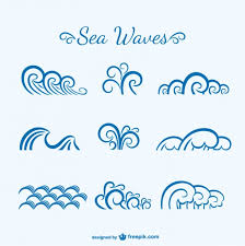 sea waves sketch vector free download