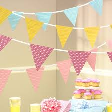 Pink And Yellow Birthday Decorations Paper Bunting Pennant Flag Paper Garland Birthday Decorations