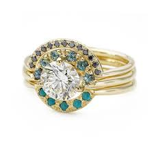 turquoise and wedding ring boho wedding ring set with diamonds sapphires and turquoise one