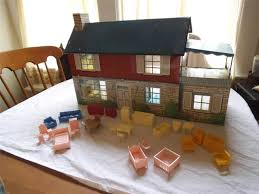 vtg marx tin lithograph two story colonial house 26 pcs furniture