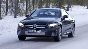 mercedes c class coupe facelift spied with new headlights