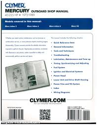 1972 1989 mercury 45 225 hp clymer outboard boat engine repair manual
