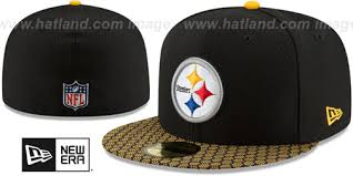 steelers honeycomb stadium black fitted hat by new era at hatland