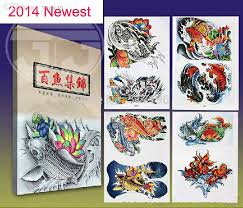 wholesale 2015 new chinese tattoo book 100 koi fish tattoo designs