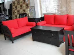 Red Sofa Sets by Black Wooden Sofa Set With Red Seats Decor Crave