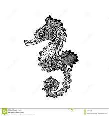 hand drawn sea horse zentangle style stock vector image 70181176